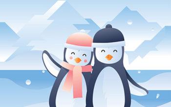 Penguin In Love Vector